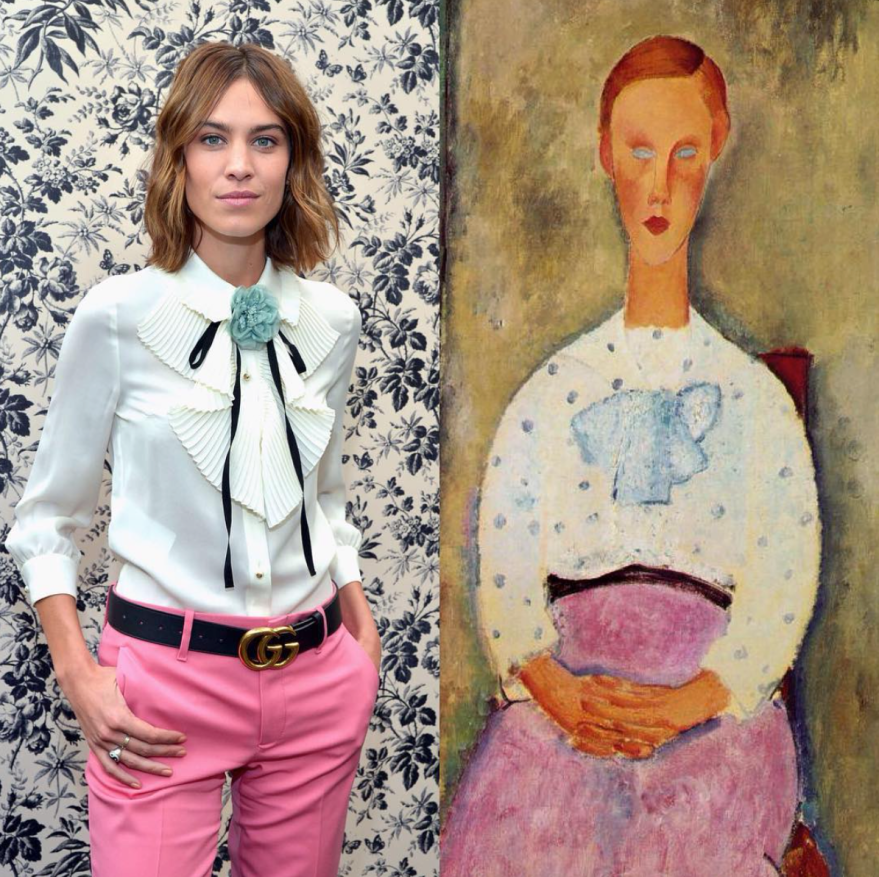 %22Girl with a Polka-dot Blouse%22 by Amedeo #Modigliani (1919) : Alexa Chung in @gucci (Getty)