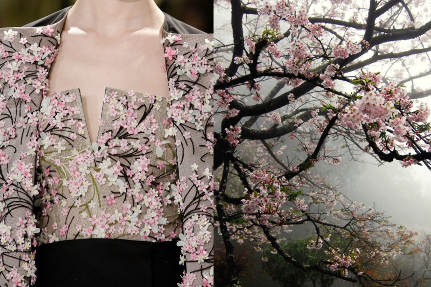 Details at Christian Dior Haute Couture Spring 2013 | Cherry blossoms photographed by WILLIAM LAI in Taiwan