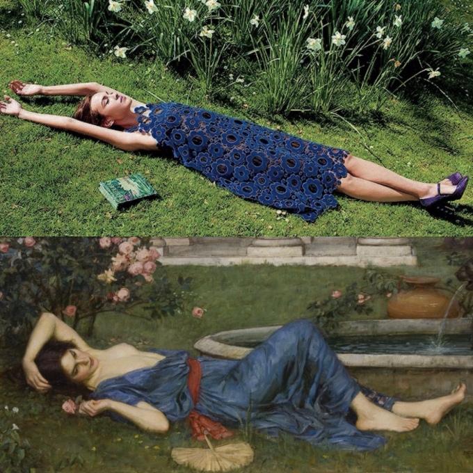 """Sweet Summer"" by John William Waterhouse (1912) : Alexa Chung for Harper's Bazaar photographed by David Slijper."